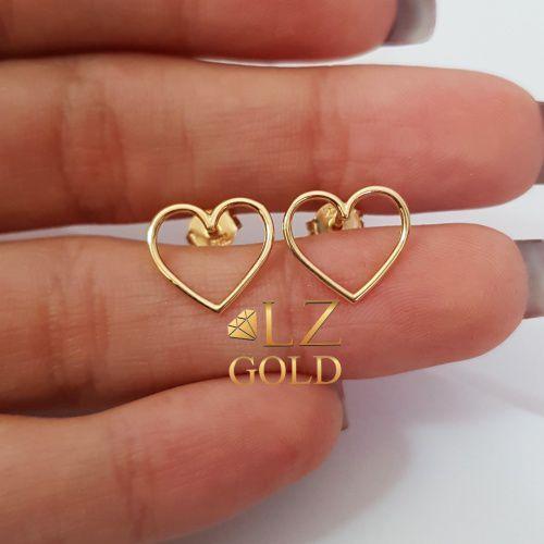 Brinco Coração Vazado Fixo Fio Médio Ouro 18k 750 Feminino