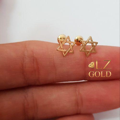 Brinco Estrela De Davi Israel Religioso Mini Ouro 18k 750