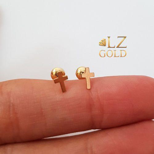 Brinco Ouro 18k Cruz Chapa Lisa Feminino Pequeno Delicado
