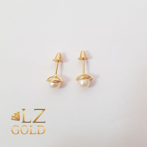 Brinco Rococó 4mm Perola Natural Ouro 18k 750 Feminino