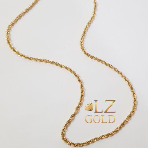 Corrente Cordino Lançamento Trançada Ouro 18k 750 45cm Unissex