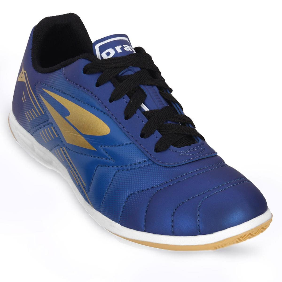 Chuteira Infantil Dray 308 Indoor Futsal - Marinho / Ouro