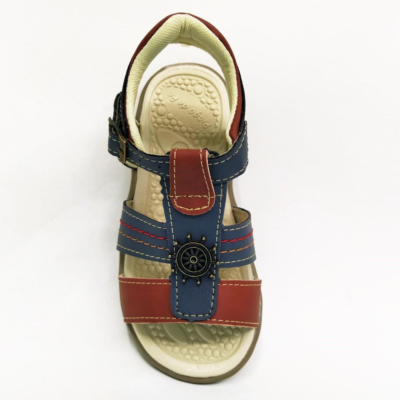 Sandalia Infantil Masculina Pingo de Pé 1393-884 - Cinza/Telha