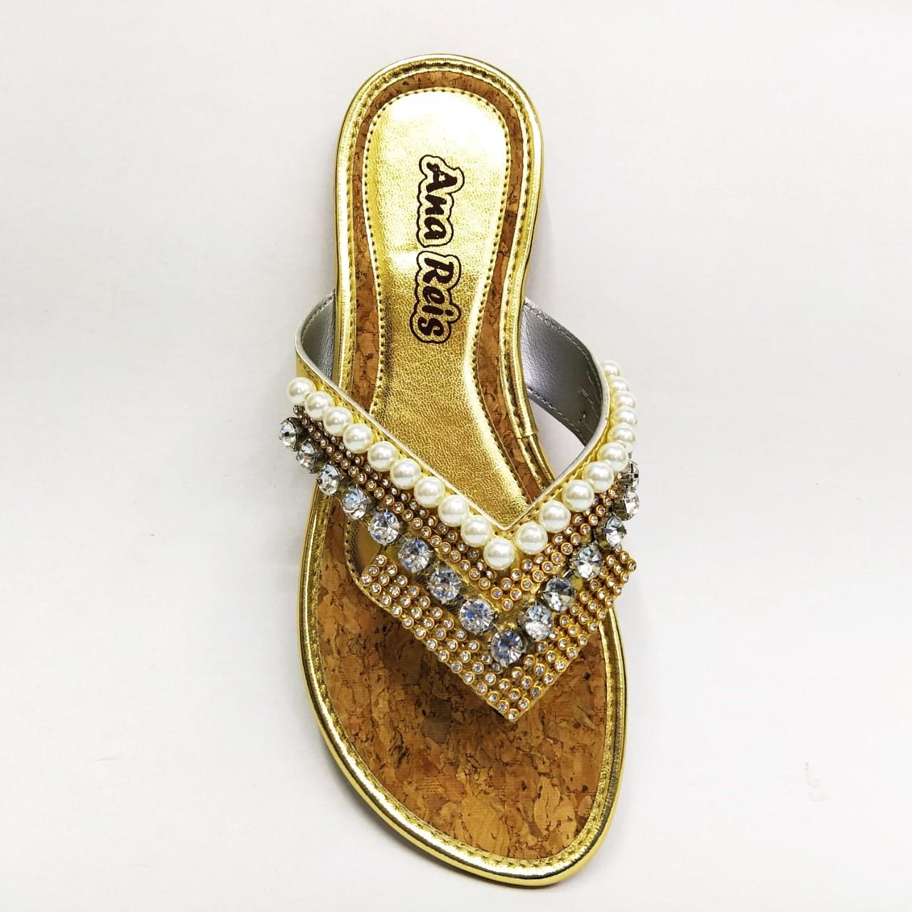 Rasteira feminina Ana Reis 2115 - Dourado