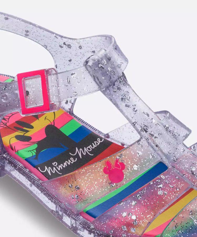Sandalia infantil feminina Minnie Rainbow 22258 - Vidro Glitter