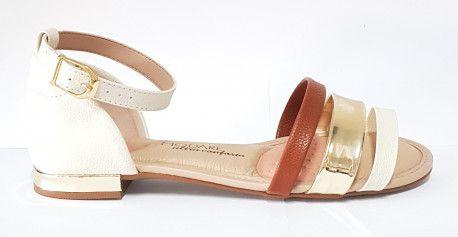Sandalia Modare 7502.202 - Branco / Camel /Dourado