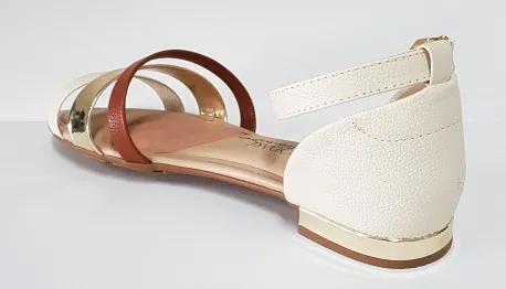 Sandália Feminina Modare 7502.202 - Branco / Camel /Dourado