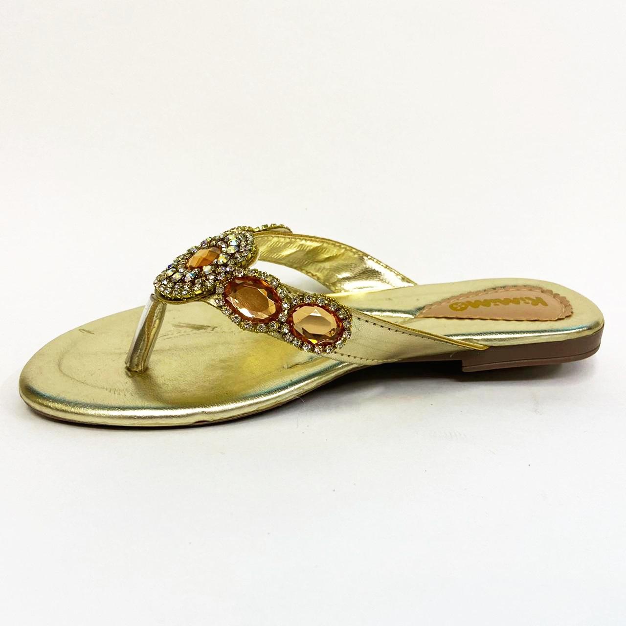 Sandalia Rasteira Feminina Infantil Kimimo 6409-55 - Ouro