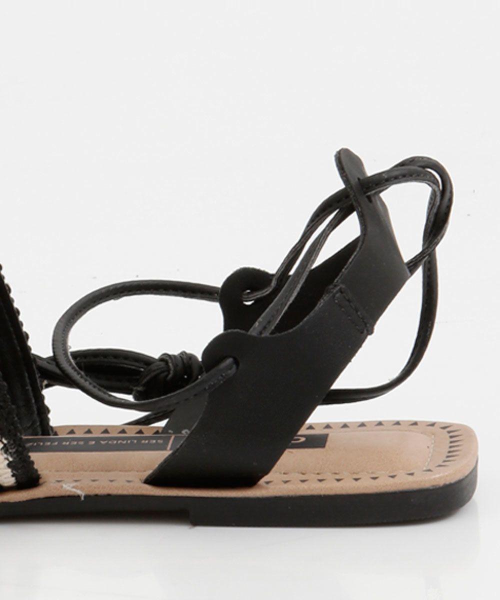 Sandalia Rasteira Gladiadora Dakota Z5313 - Preto/Bege
