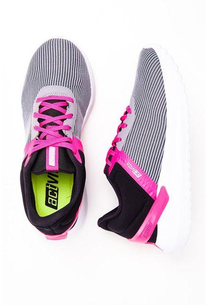 Tenis Feminino Actvitta 4812.102 - Cinza/Preto/Pink