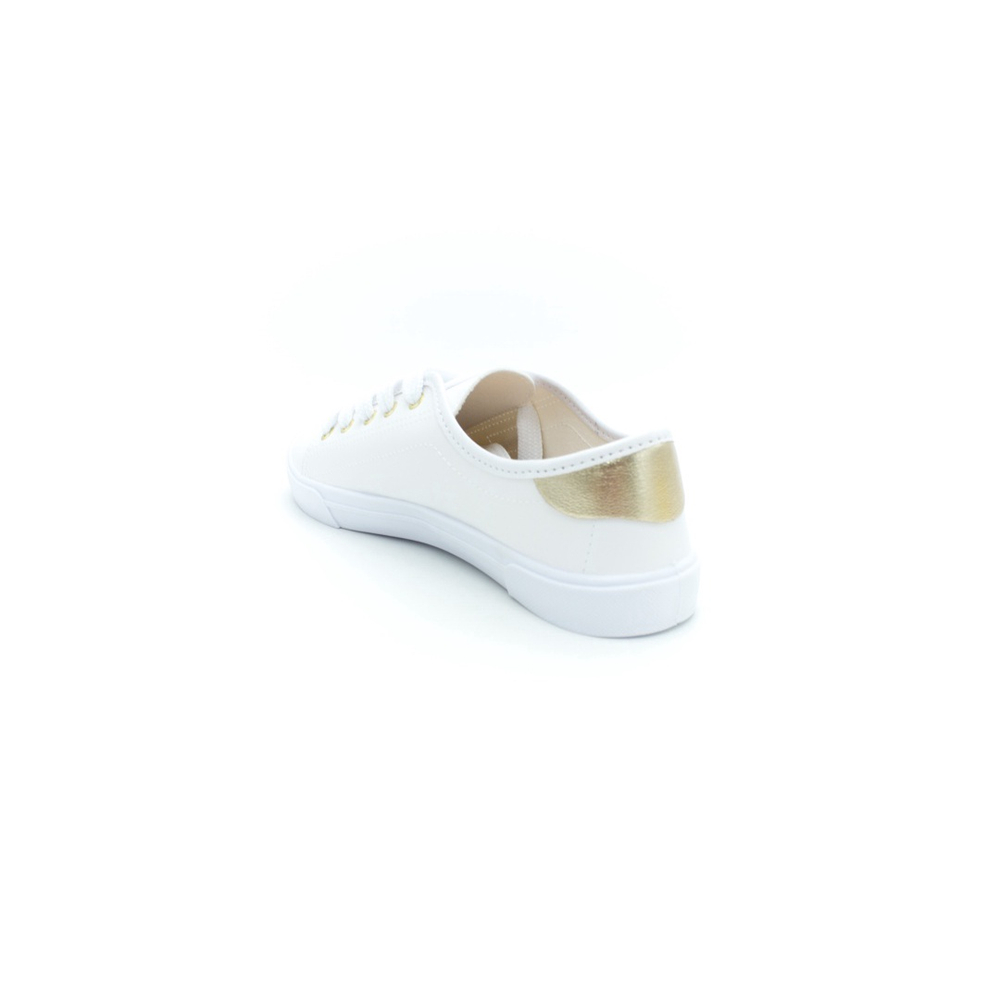 Tenis Feminino Moleca 5296.261 - Branco/Ouro