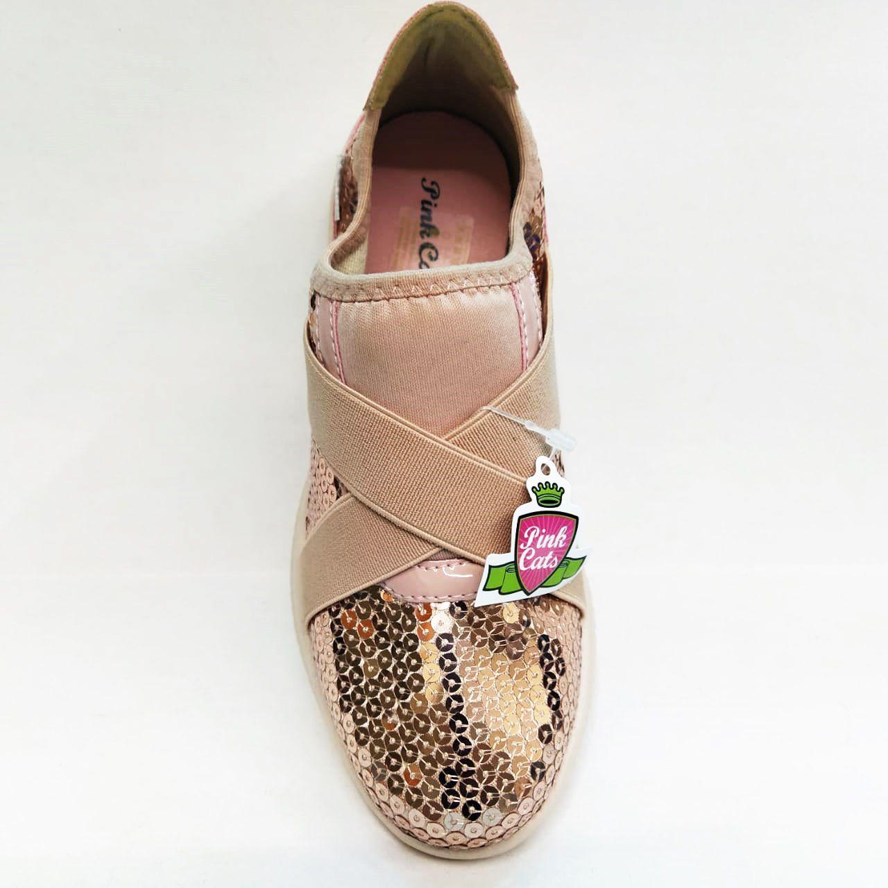 Tênis Infantil Feminino Pink Cats W9813 - Ouro Rosado
