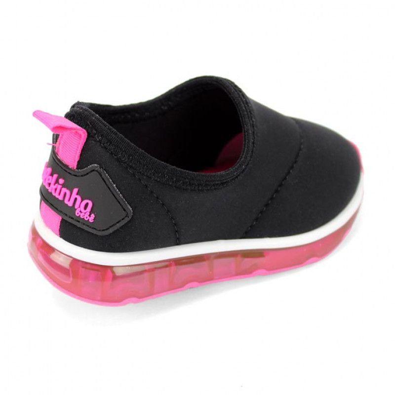 Tênis Infantil Molekinha 2122.101 - Preto / Pink