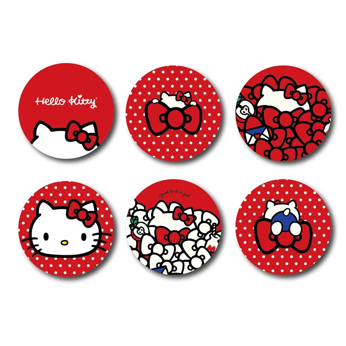6 Porta copos Hello Kitty vermelho