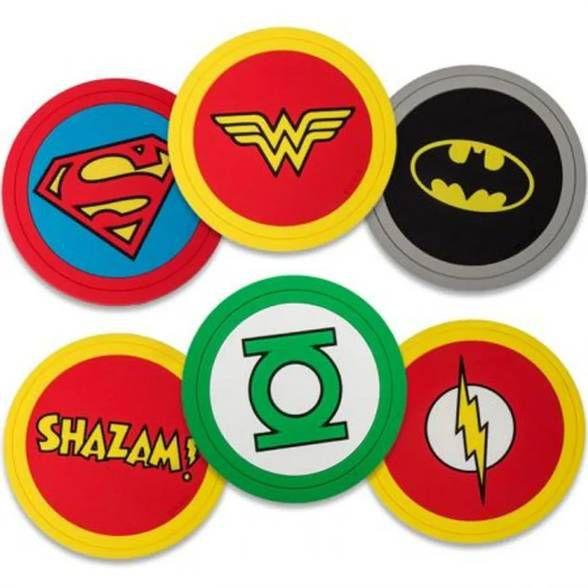 6 Porta Copos Heroes Signs DC