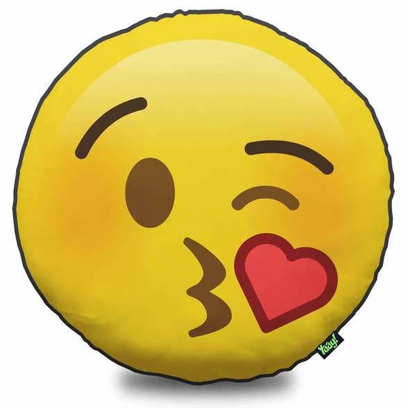 Almofada Emoticon - Emoji Beijinho com Amor