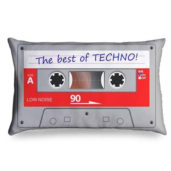 Almofada Retrô Fita Cassete - The Best Of Techno