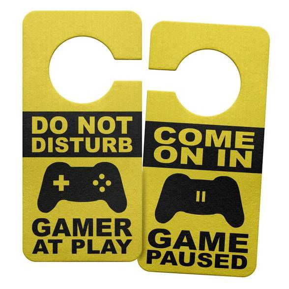 Aviso de Porta Ecológico Gamer at Play