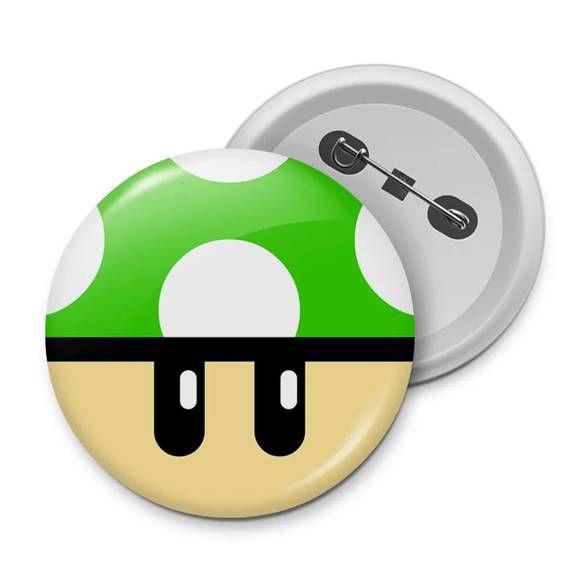Botton Gamer Cogumelo Verde 1Up