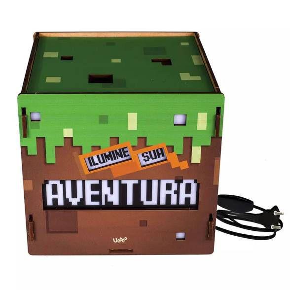Caixa de luz madeira cubo - viva aventura