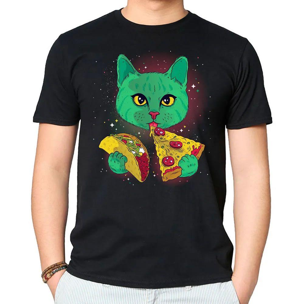 Camiseta Cosmic Cat Preta