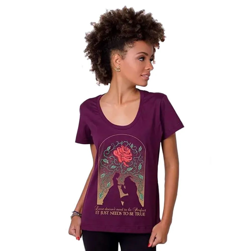 Camiseta feminina a Bela e a Fera