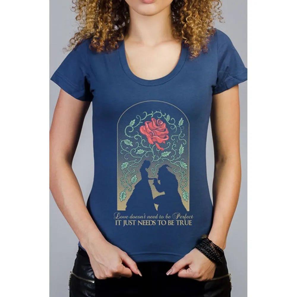 Camiseta Feminina A Bela e a Fera Azul