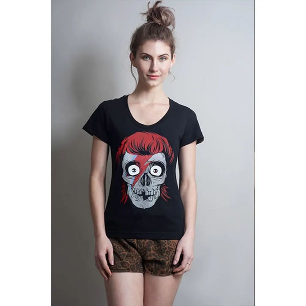 Camiseta Feminina Bowie Skull