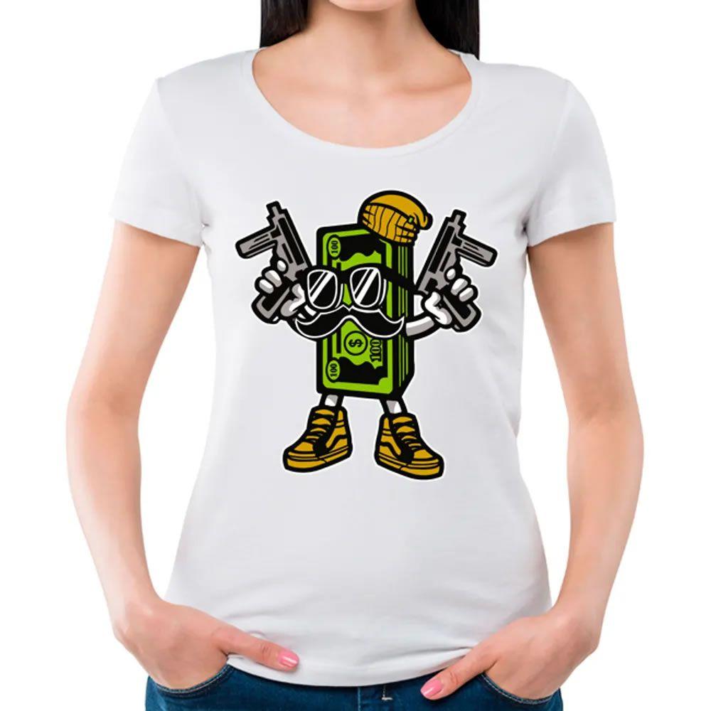 Camiseta Feminina Cash Rules Branca
