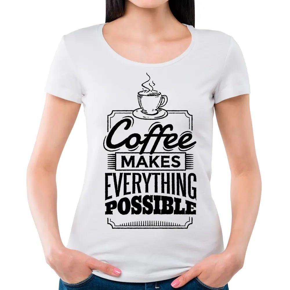 Camiseta Feminina Coffee Branca