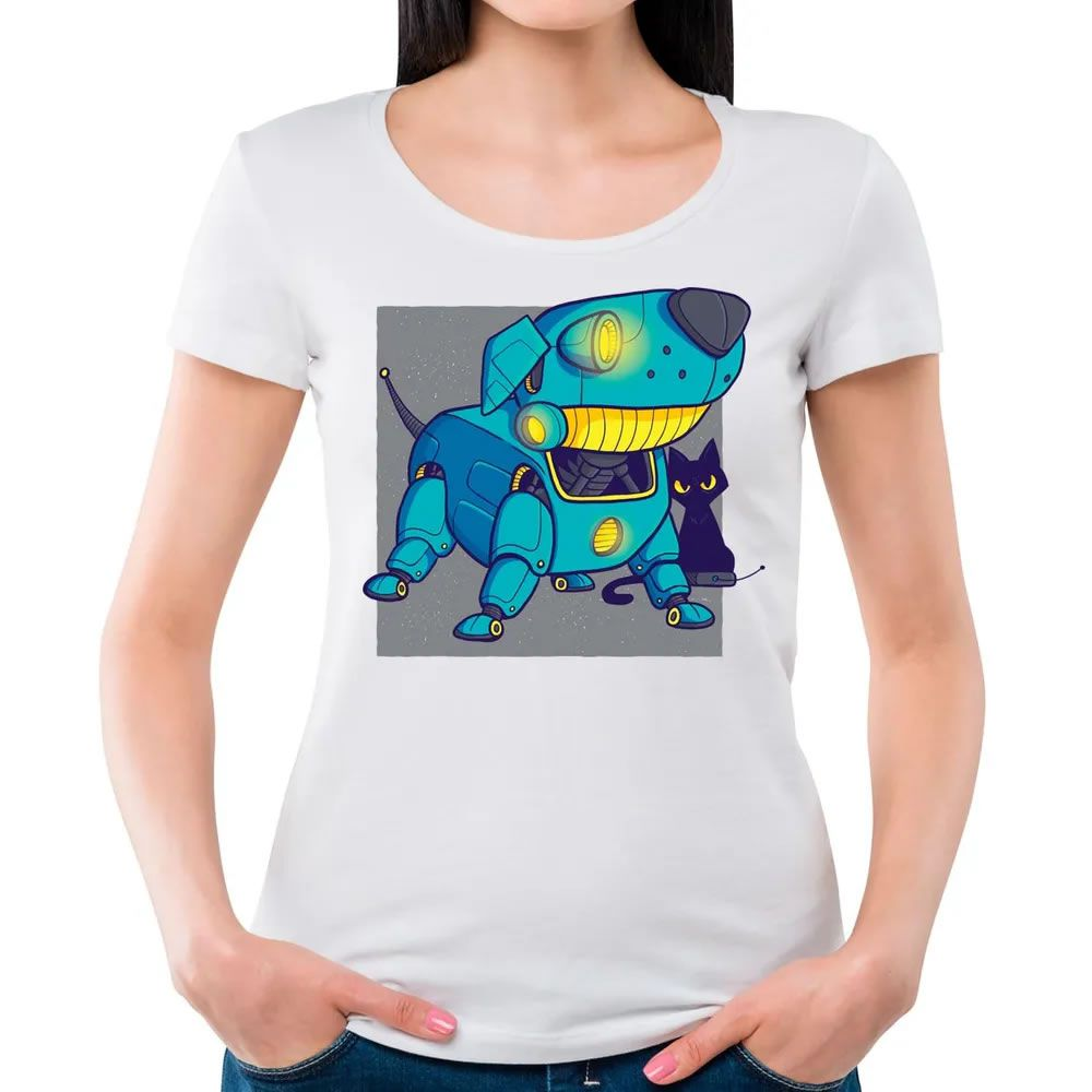 Camiseta Feminina Dog Robot Branca