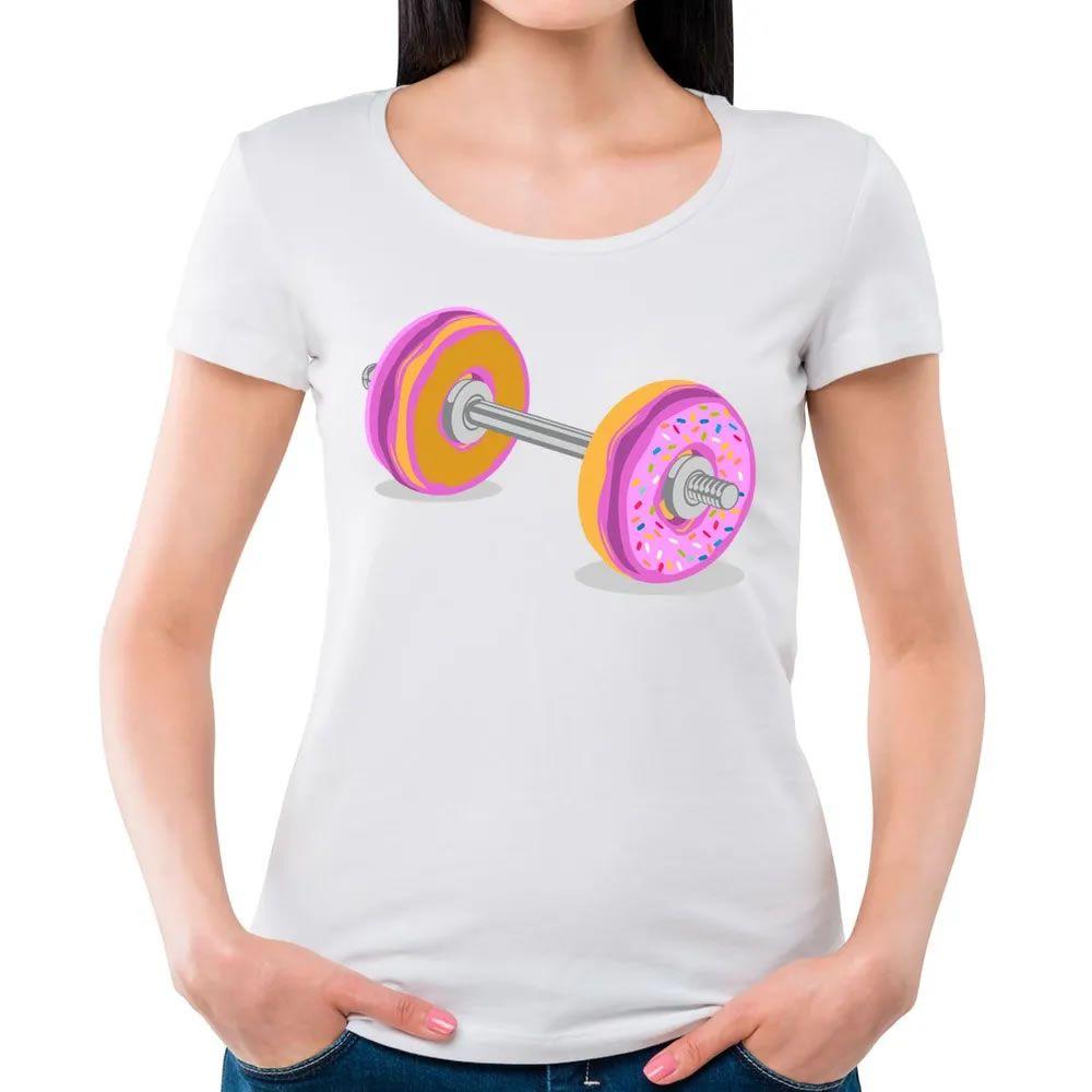 Camiseta Feminina Donut Barbell Branca