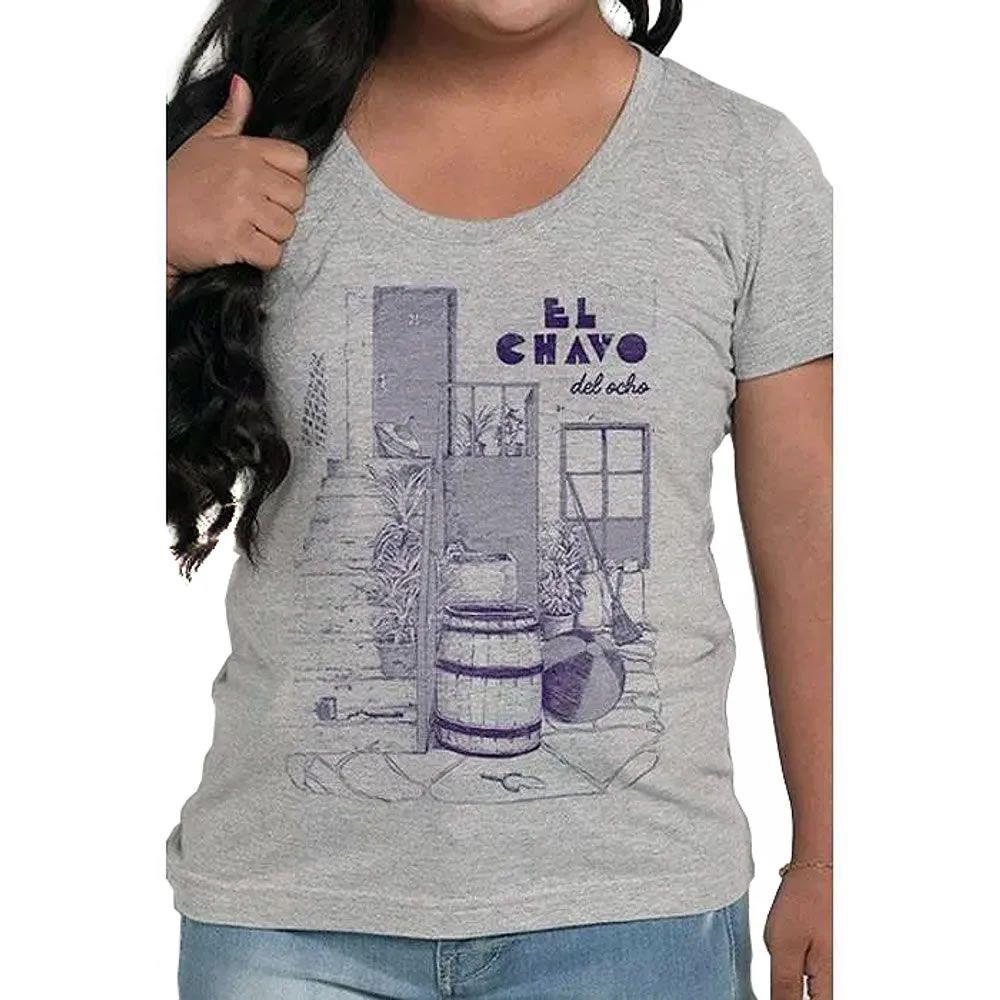 Camiseta Feminina El Chavo Cinza