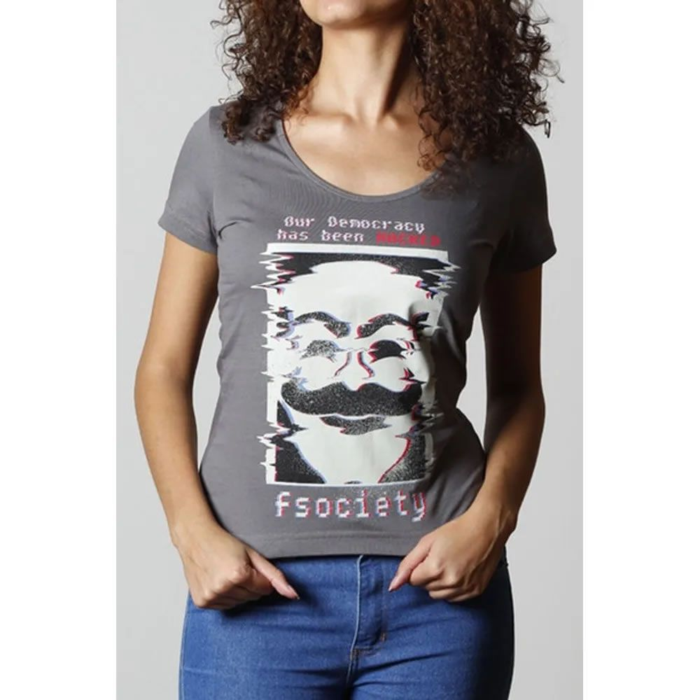 Camiseta Feminina FSociety Cinza