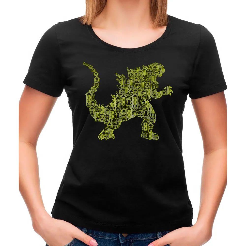 Camiseta Feminina Godzilla Preta