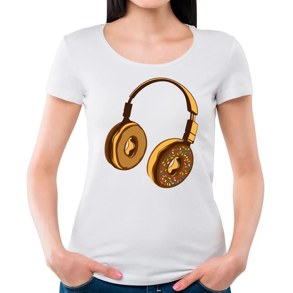 Camiseta Feminina Headphone Donut Branca
