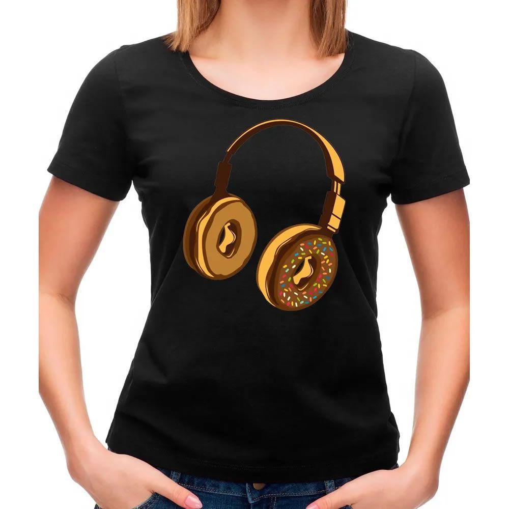 Camiseta Feminina Headphone Donut Preta