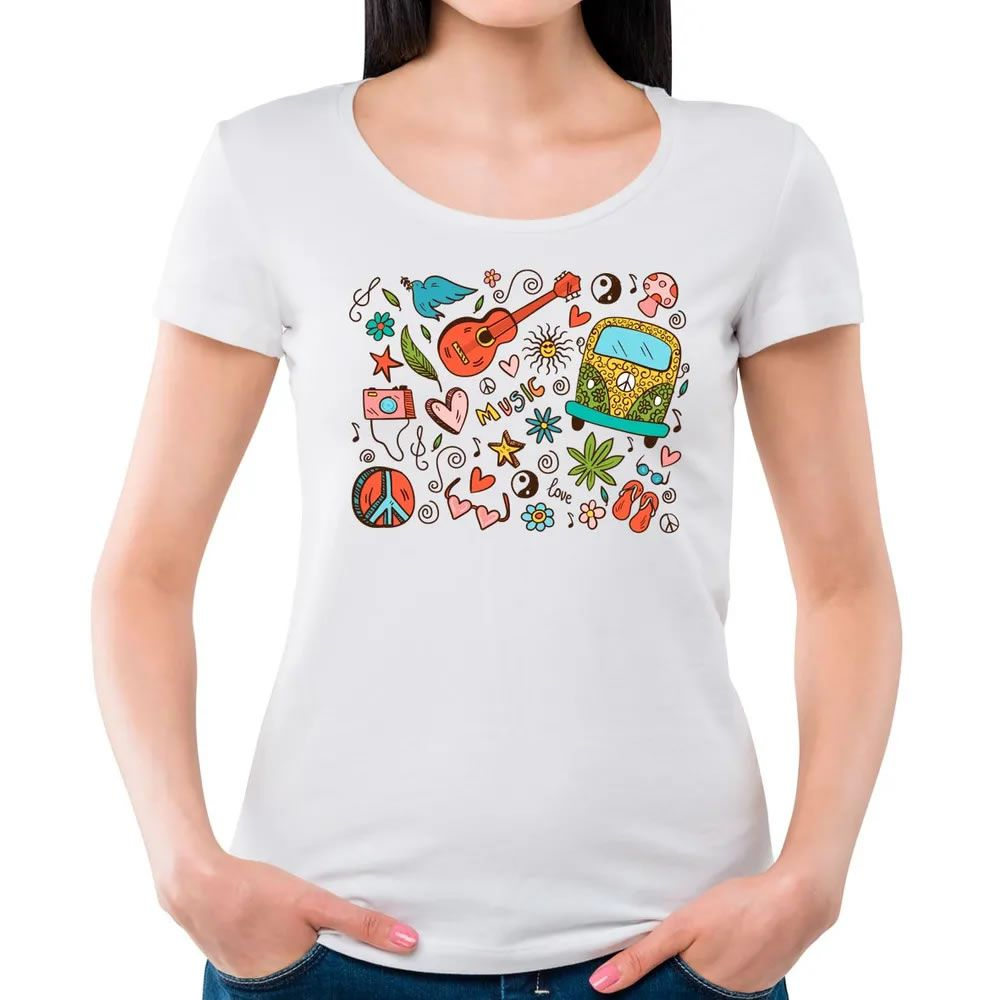Camiseta Feminina Hippie Doodle Branca