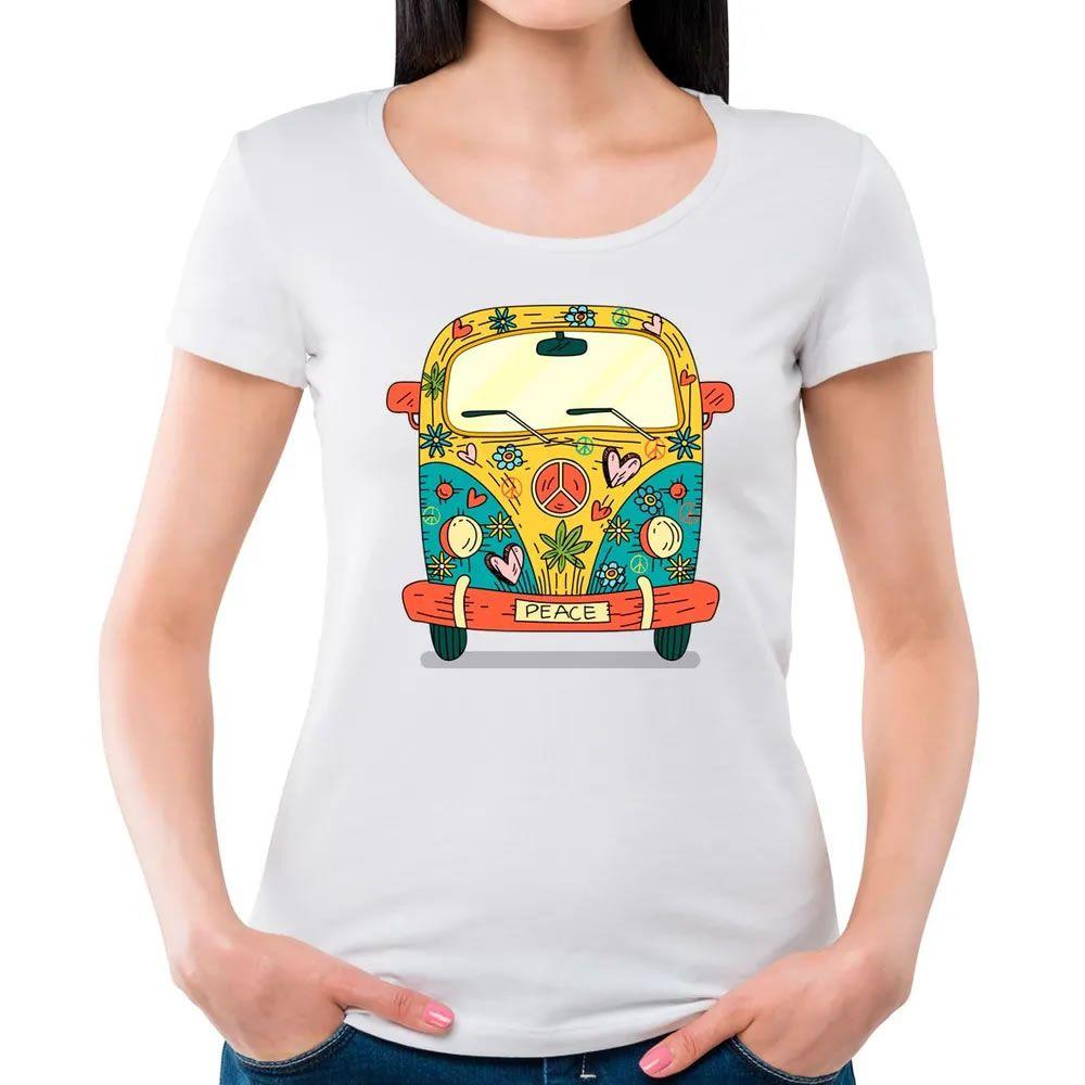 Camiseta Feminina Kombi Hippie Branca