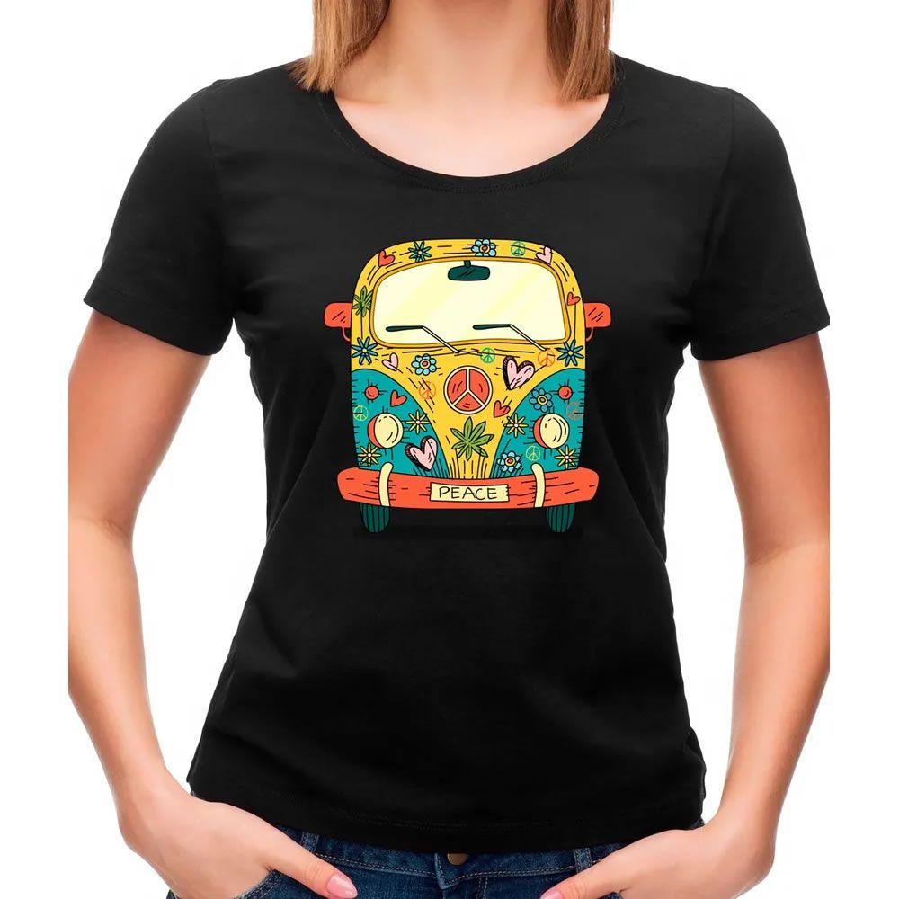 Camiseta Feminina Kombi Hippie Preta