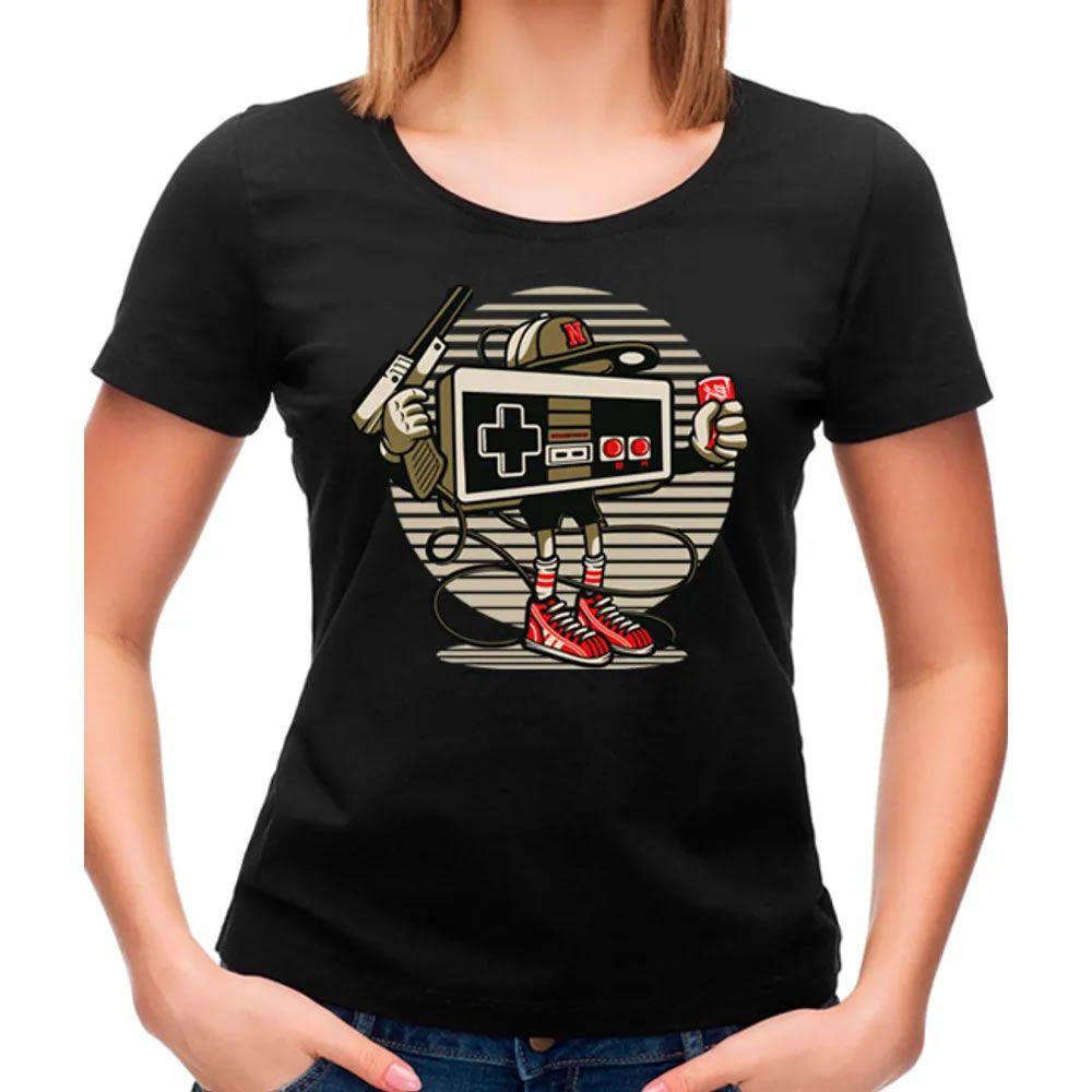 Camiseta Feminina Let's Play Nintendo Pr