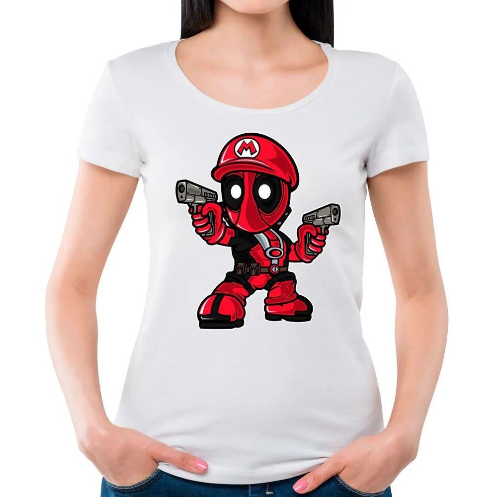 Camiseta Feminina Mario Deadpool Branca