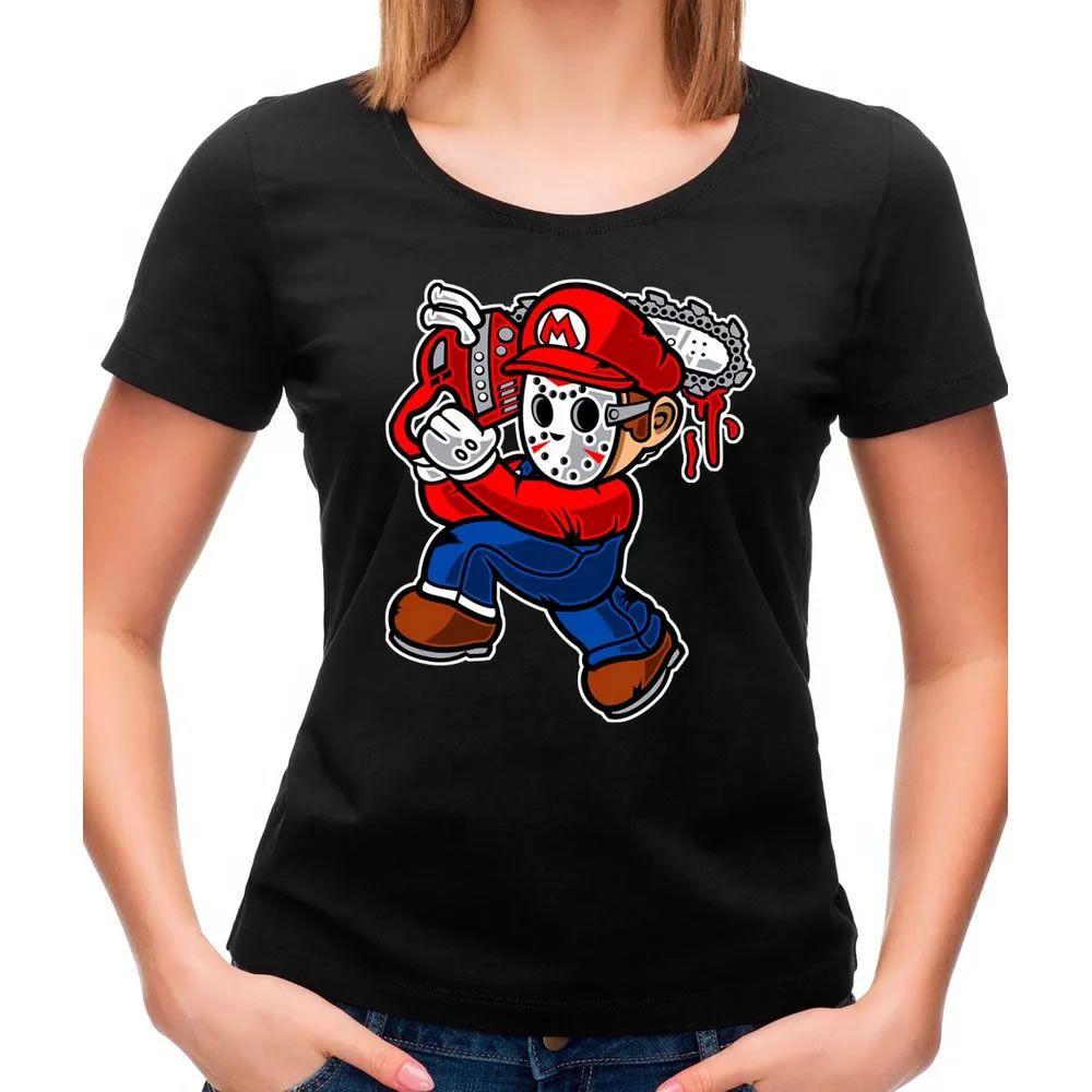 Camiseta Feminina Mario Massacre Preta