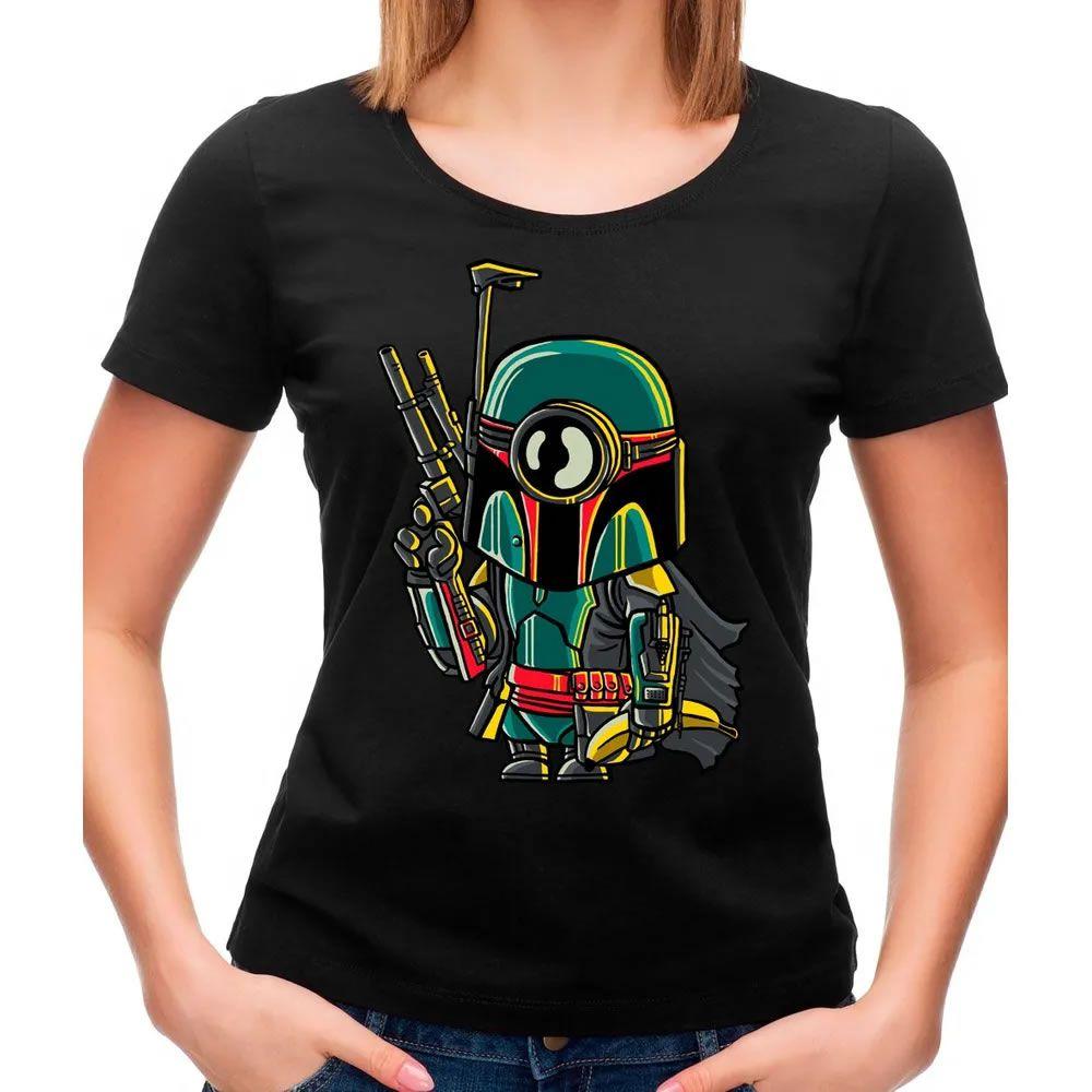 Camiseta Feminina Minion Boba Fett Preta