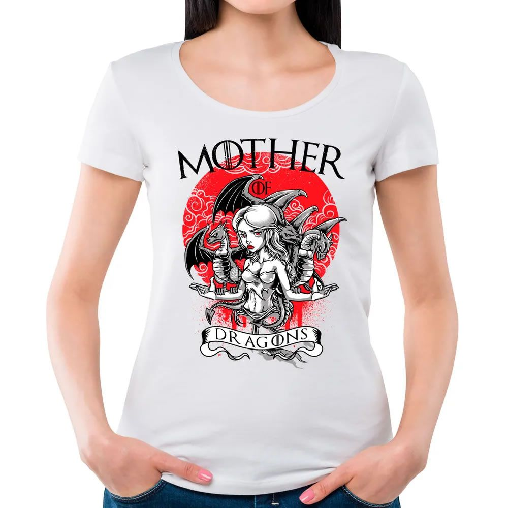 Camiseta Feminina Mother of Dragons Branca