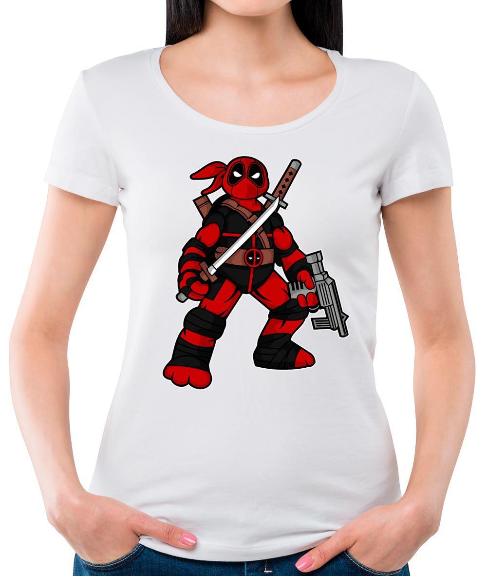 Camiseta Feminina Ninja Deadpool Branca