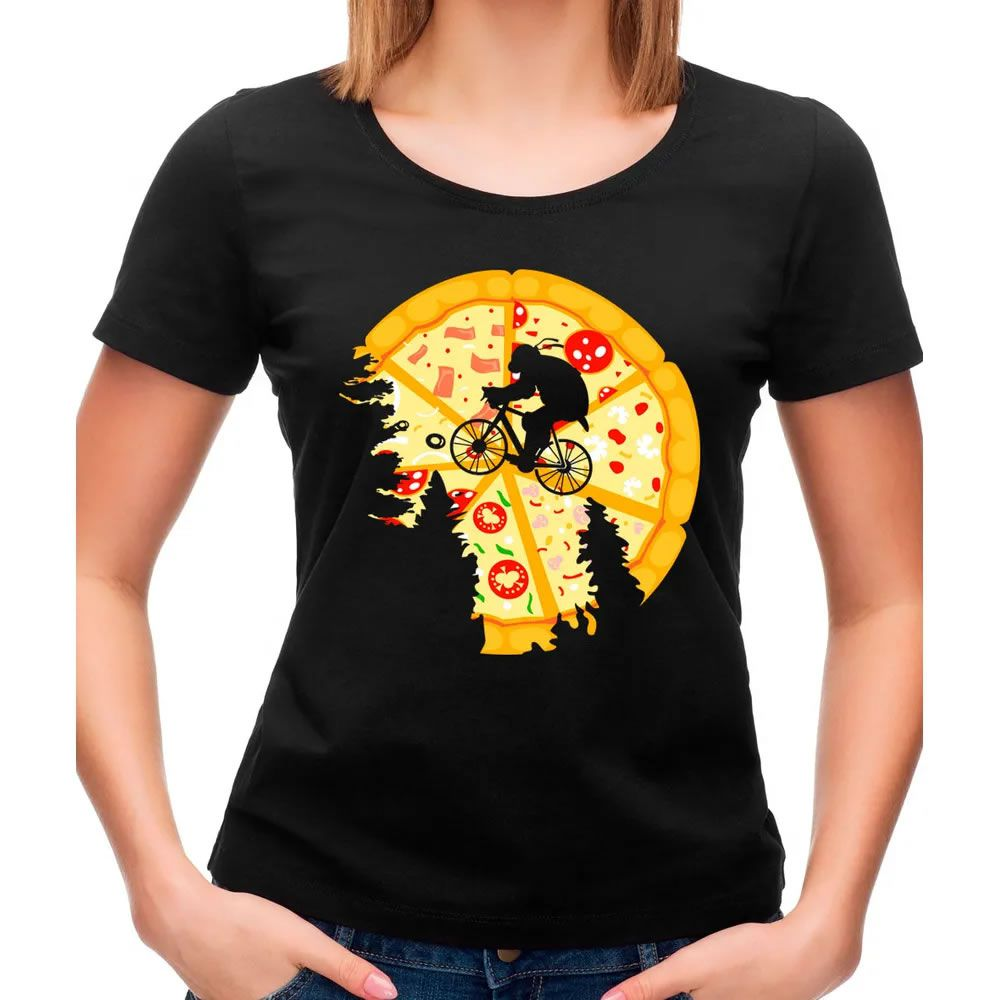 Camiseta Feminina Pizza Moon Preta