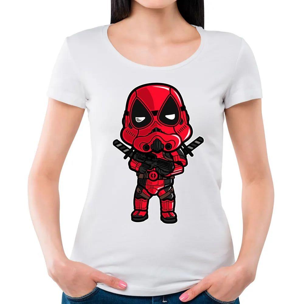 Camiseta Feminina Transparente Deadtrooper Branca