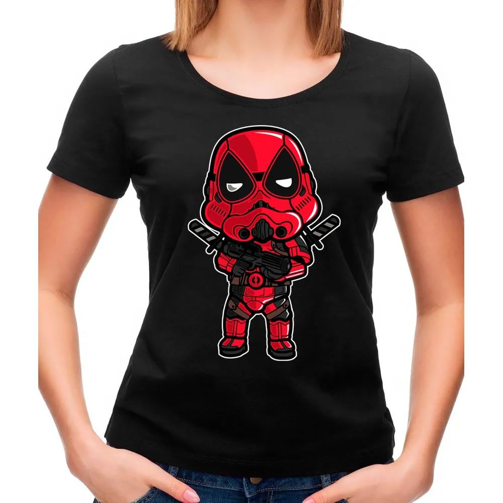 Camiseta Feminina Transparente Deadtrooper Preta