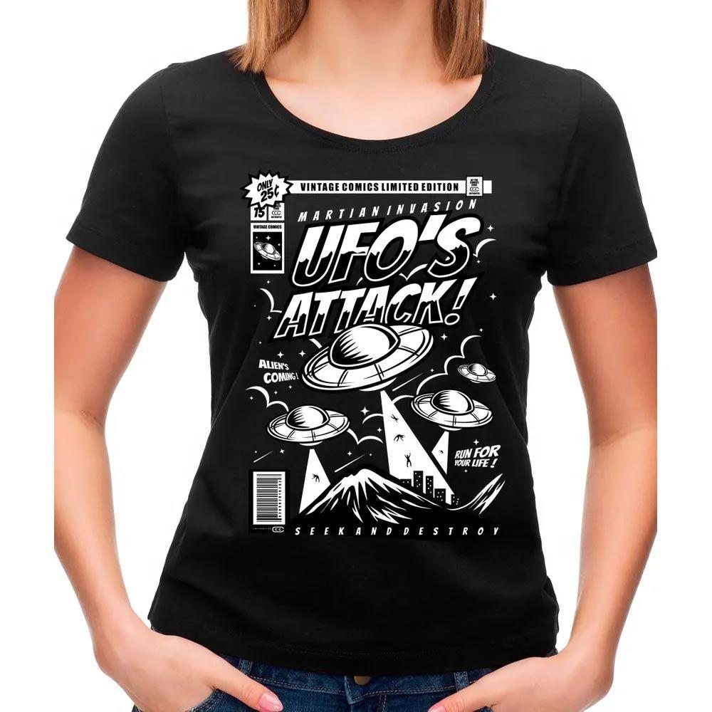 Camiseta Feminina Ufo Preta